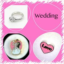 Wedding Floating Charms Glass Living Lockets-Bride/Groom-Ring-Pink Love Heart