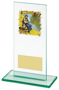 160mm jade glass Fishing Trophy (RRP £8.95) engraved and postage free