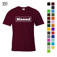 BLESSED CHRISTIAN PRINT T SHIRT JESUS CHRIST GRAPHIC SHIRTS GOD DESIGN TEE GIFT
