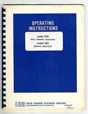 UREI - 535 - 533  INSTALLATION OPERATING AND MAINTENACE MANUAL ( ORIGINAL BOOK )
