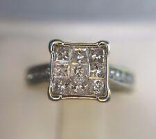 Estate 10k White Gold Square Princess Cut Round Diamond Cluster Engagement Ring
