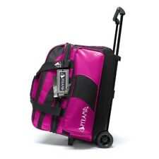 Womens Bowling Ball Bag Deluxe Double Roller Pyramid Path Hot Pink