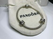 Genuine Pandora Bracelet 17cm 2 Clip Charms with Bag  USED - Sterling Silver