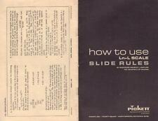 "Pickett ""How To Useln-L Scale Slide Rules"" Soft Cover 16 Pages Very Good Cond"