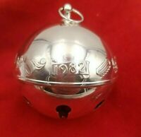 1982 Wallace Sleigh Bell Silverplate Ornament w/ Winter Sports #7989