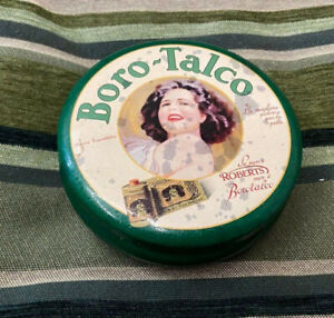 Scatola in metallo vintage boro talco roberts diametro 13 cm completo