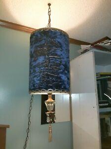Vintage Hanging swag Lamp / Crushed Velvet Retro Light set. Antique Lights 120v