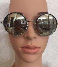 Linda Farrow Sunglasses round Mirrored Chrome Arms And Black Trim Frame