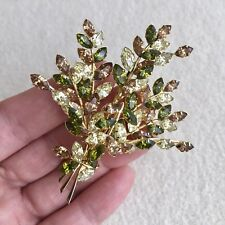Vintage JEWELCREST Donald SIMPSON Crystal RHINESTONE Autumn FERN Spray BROOCH