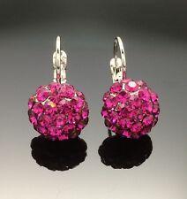 Hot Pink Swarovski Crystal Ball Earring Wedding Diamante Silver White Gold GF