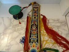VINTAGE MONGOLIAN BUDDHIST HANDMADE WOODEN HAND-DRUM DAMARU