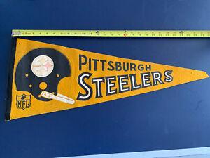 Vintage 1967 Pittsburgh Steelers Full Size Felt Pennant Single Bar Helmet NFL