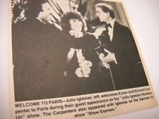 The CARPENTERS welcomed by JULIO IGLESIAS 1982 music biz promo pic with text