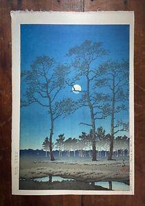 KAWASE HASUI Winter Moon Over Tomaya Plain - Original Shin Hanga Woodblock Print