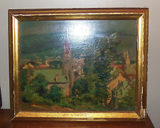 Alexander Bower Oil On Board. Church View. Signed. 1943.