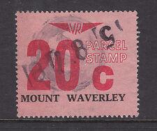 "RAILWAY STAMPS: 20c VICTORIA RAILWAYS PARCEL STAMP  ''MOUNT WAVERLEY""   USED."
