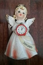 Vintage New Year's January Birthday Angel with Red Clock
