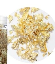 Gold  Nail  Art Leaf Micro Flakes To Use With Gel Or Acrylic 3gram Pot