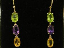 E100 Genuine 9ct Yellow Gold Natural Peridot Amethyst Citrine Earrings Journey