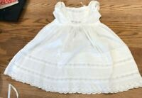 Beautiful vintage cotton Christening gown with pintucks and lace detail.