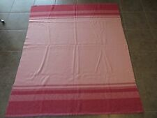 VINTAGE PINK STRIPE WOOL BLANKET BRIGHT TO LIGHT COLORS 70X83