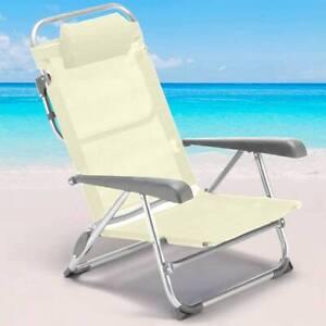 Spiaggina Sedia Prendisole Pieghevole Mare Spiaggia Sdraio Reclinabile Beige