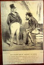 CHAM Lithographie Le Charivari Caricature XIXe Dialogue Proudhon et un locataire