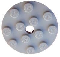 Lego 10 Stück Platte rund mit Loch 4x4 in hellgrau (light bluish gray) 60474 Neu