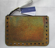 Rebecca Minkoff Clutch Bag Leather Wristlet Kerry Pouch Gunmetal NEW $65 retail