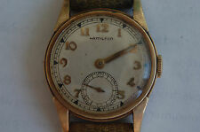 Vintage Mens Hamilton 10k Gold Filled Wristwatch Running Awesome!!