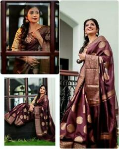 Kanchipuram Jacquard Cotton Silk banarasi party wedding stylish saree sari