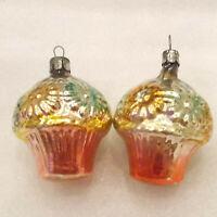 2 Vintage Russian Glass Christmas X-mas Tree USSR Ornaments Decorations Baskets