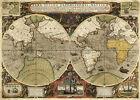 World+Map+Francis+Drakes+Thomas+Cavendish+1595+Circumnavigations+11x16+Wall+Art