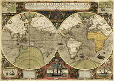 World Map Francis Drakes Thomas Cavendishs 1595 Circumnavigations Wall Art Print