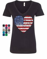 Stars and Stripes Heart Women's V-Neck T-Shirt Independence Day July 4 US Flag