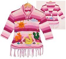 Pullover Kleid Peru pink Rosa weiss, Gr.92*98, XXL-Kapuze Zipfelkapuze,Ente Hase