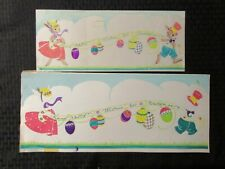 "HAPPY EASTER Beautiful Watercolor Bunnies & Eggs 13x5.5"" Greeting Card Art #nn"
