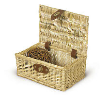 Natural Light Wood Color Small Basket Leather-Like Strap and Handle Home Decor