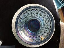 Vintage Indiana Windsor Carnival Glass Blue Iridescent Fruit, Salad, Punch Bowl