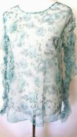 Zara Green  Color Floral Print Long Sleeve  Blouse  Size XL