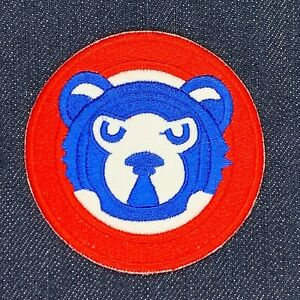 """CHICAGO CUBS JERSEY EMBROIDERED  PATCH IRON ON LOGO WITH BEAR FACE 2.75"""""""