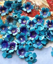 Forget Me Nots beads,Vintage Enamel Flower Beads,vintage flower Cabochons #1708