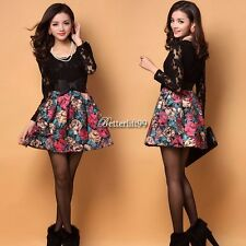 Korean Fashion Long Sleeve Lace Stitching Hip Women Casual Mini Dress with Belt