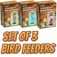 Set of 3 Wild Bird Feeder Seed Nut Fat Ball Metal Hanging Squirrel Proof Guard