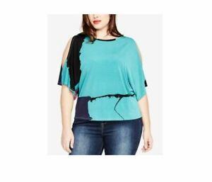 Rachel Roy Plus Size Malachite Combo Cold Shoulder Top Blouse 0X fits XL