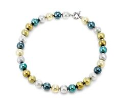 Authentic JOIA De Majorca Green Hues Round Pearl Necklace, 12 mm