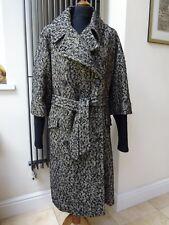Lener Herringbone Tweed Negro De Lana Abrigo Nuevo Bnwt Talla L Rrp £ 550