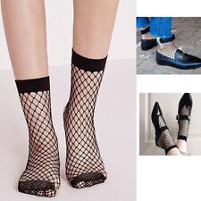 2 Pairs Black Women's Girls Fishnet Socks Quality Elastic Net Mesh Ankle