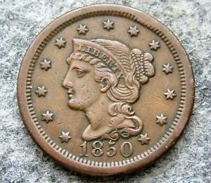 UNITED STATES 1850 ONE CENT, LIBERTY HEAD - BRAIDED HAIR, BETTER GRADE