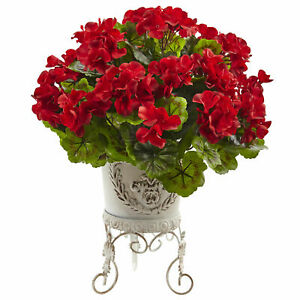 Nearly Natural Geranium With Metal Planter UV Resistant Red Flower Home Decor